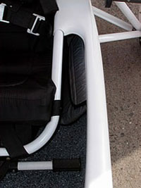 Place for the passenger's feet and a side pocket